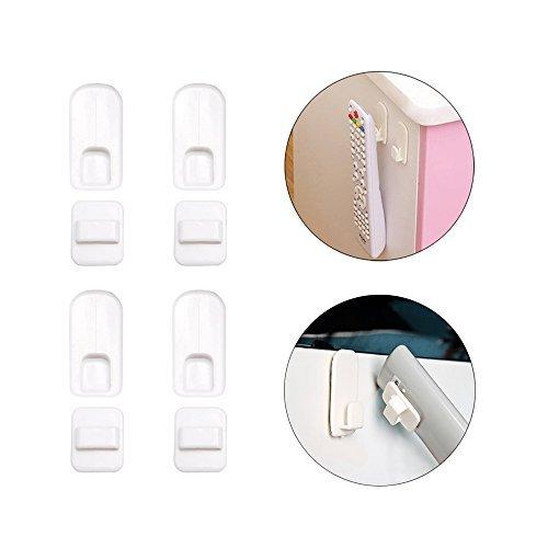 Control remoto Titular Gancho, 4Set Soporte de pared adhesiva Sticky plástico blanco gancho con fuerte de almacenamiento y...
