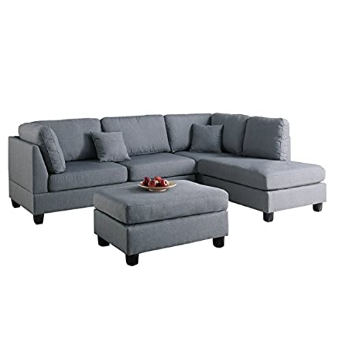 Modern Contemporary Polyfiber Fabric Sectional Sofa And Ottoman Set (Gray)