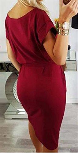 n Vino De Clubwear Midi Corta Cuello Con Vestido Mujeres Cintur Rojo Redondo Cromoncent Manga Bodycon De q1SxO4wBAz