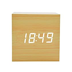 GZMAY Modern Wooden LED Light Clock Square Cube Digital Alarm Clock with Time and Temperature Brighter LED Display (Bamboo)