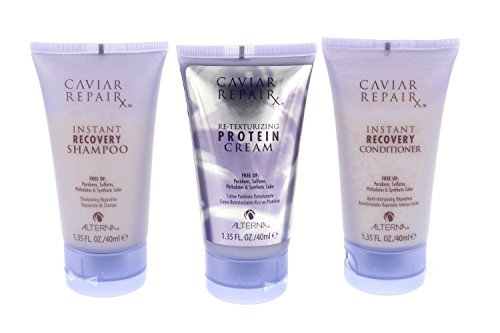 Alterna Caviar Repair Travel Trio: Instant Recovery Shampoo & Conditioner & Re-Texturizing Protein Cream 1.35 oz each - Instant Repair Conditioner