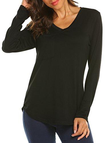 Tobrief Womens Casual V Neck Sweatshirt Loose Long Sleeve T Shirt Blouses for Girls Tops Black XL