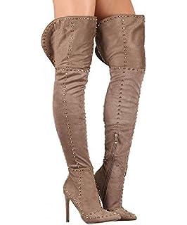 80ba3a830 RF ROOM OF FASHION Women Fashion Comfy Vegan Suede Block Heel Side Zipper  Thigh High Over