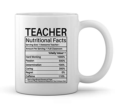 Teaching Gifts for World's Best Teachers Ever Teacher Nutritional Facts Label Classroom Decorations Funny Novelty Gag Gift Ideas Ceramic Coffee Mug Tea -
