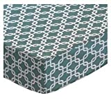 SheetWorld Fitted Square Playard Sheet 37.5 x 37.5 (Fits Joovy) - Seafoam Blue Links - Made In USA