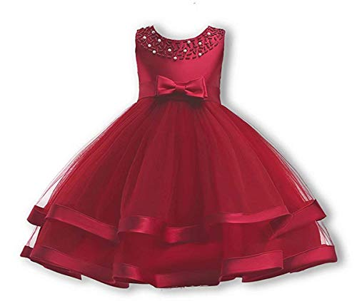 Girls Lace Bridesmaid Dress Wedding Pageant Dresses Tulle Party Gown Age 3-9Y (Wine Red,Tag No.100/3-4 Years)