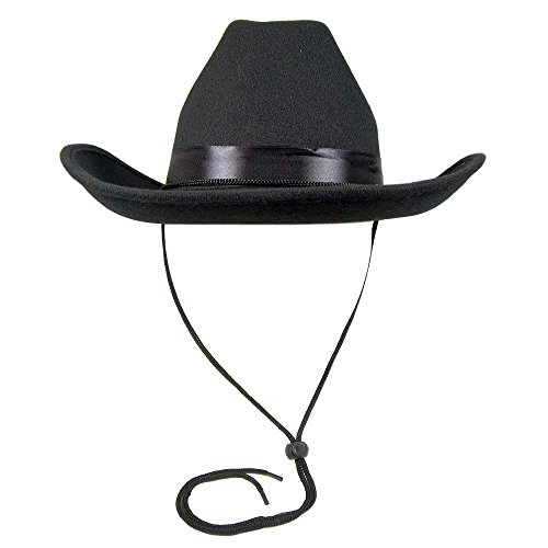 - Adult Black Cowboy Cowgirl Deluxe Felt Hat Costume Accessory Western Sheriff