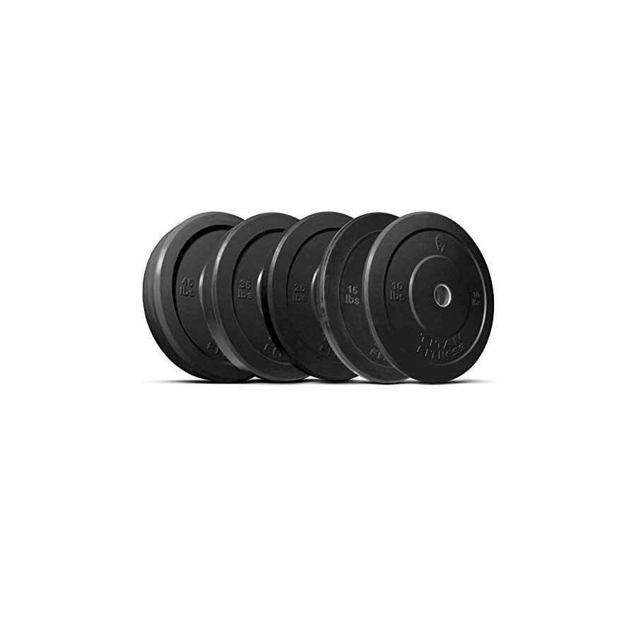 Titan 260 lb Set of Olympic Bumper Plates Benchpress Strength Training Power Black