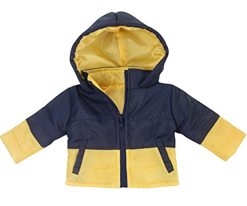 18 Inch Boy Doll Coat by Sophia's | Navy & Yellow Puffy Coat for Dolls