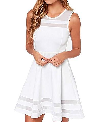 Face N Face Women's Mesh Slim Sleeveless Short Mini Flare Dress X-Large White - Flare Mini Dress