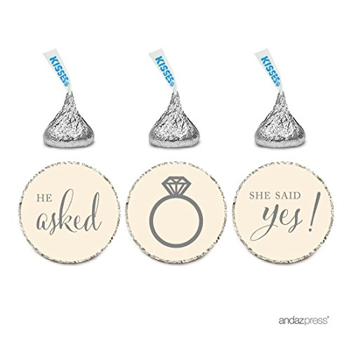 Andaz Press Chocolate Drop Labels Stickers, Wedding He Asked She Said Yes!, Ivory, 216-Pack, for Bridal Shower Engagement Hershey's Kisses Party Favors Decor