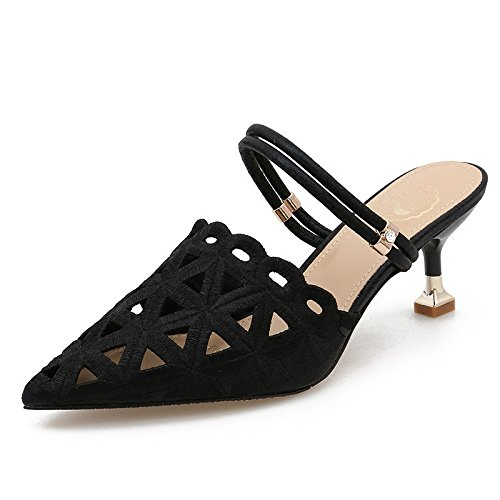 Zapatillas para color KPHY Spring alto cm And Expose negro Wild unidades 36 tacón Summer The mujer 6 q0Yq1