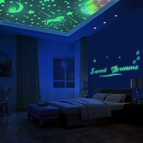 308 Pcs Glow in The Dark Stars for Ceiling, 3D Glowing Unicorn Wall Decals Moon Star Stickers for DIY Boys Girls Bedroom… 6