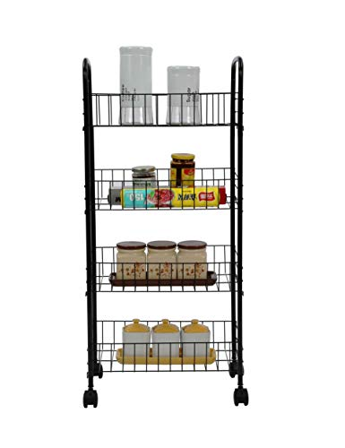 - Homebi Kitchen Trolley Rolling Cart 4-Tier Kitchen Cart Metal Storage Rack Shelving Units with Wire Baskets for Cooking Utensils and Food Storage with Wheels in Black,16.53
