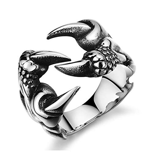 CAIYCAI Retro Gothic Punk Men Rings Skull Wolf Dragon Male Rings Jewelry Halloween Anillo Hombre FF042 8