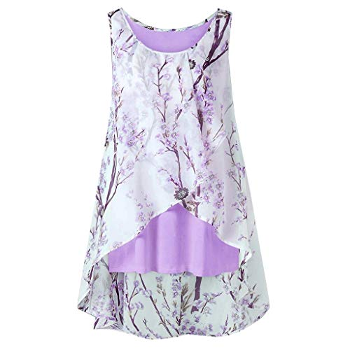 (〓COOlCCI〓Women Sleeveless Swing Tunic Summer Floral Flare Tank Top Double Layers Casual Blouse Tunic Shirts Vest Camisoles Purple )