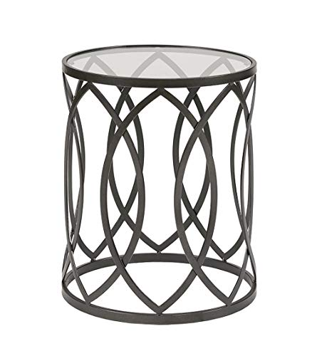 Madison Park Arlo Accent Tables For Living Room, Glass Top Hollow Round, Small Metal Frame Geometric Eyelet Pattern Luxe Modern Stylish Nightstand Bedroom Furniture, Black (Wood End Drum Table)