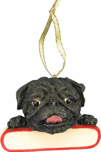 Pug Ornament Black
