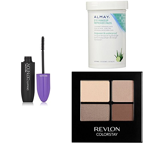 Makeup Colorstay Revlon Remover (Revlon Complete Eye Collection + Almay Longwear & Waterproof Eye Makeup Remover Pads - Blackest Black  Dramatic Definition Mascara & ColorStay 16 Hour Eye Shadow Quad - Addictive)
