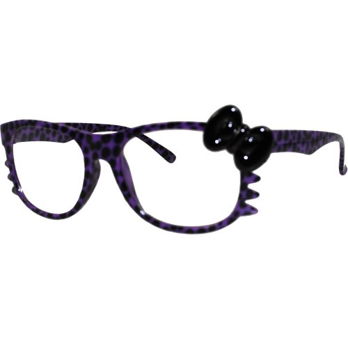 Hello Kitty Leopard Nerd Frame Clear Lens Glasses w/ Bow and Whiskers - Frames Glasses 2014 Womens