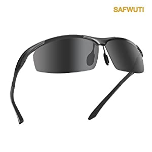 Men's Polarized Sunglasses, SAFWUTI Unbreakable Sports Polarized Sunglasses Driver Glasses Unbreakable Frame for Driving Cycling Running Fishing Golf - Metal Frame Al-Mg Glasses (Black)