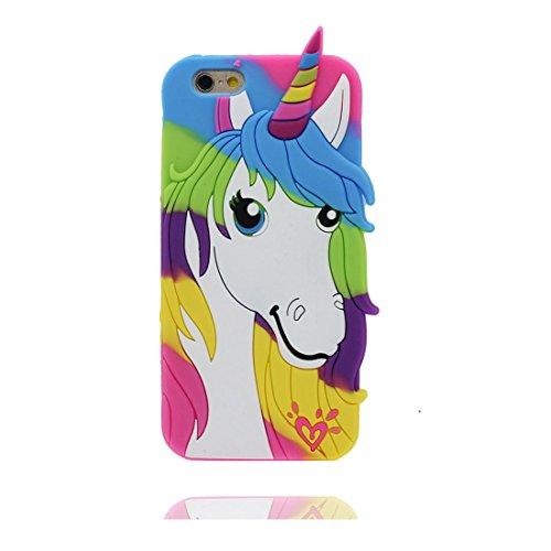 """iPhone 6 Plus Hülle (5.5 zoll), TPU flexibles elegant handyhülle für iPhone 6S Plus (5.5""""), 3D Einhorn unicorn Staub-Kratzer beständig, weiche case & Staubstecker"""