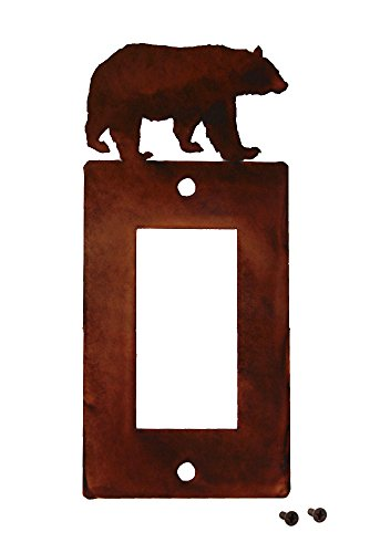 Style Switch Decora (Decorative Rustic Finish Steel Decora Rocker Style Light Switch Cover/Wall Plate - Single Switch, Bear)