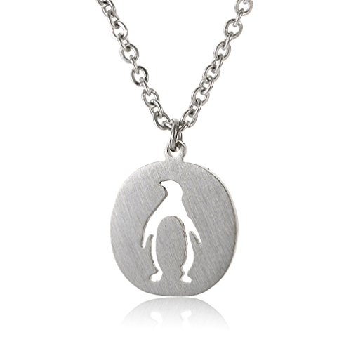 HUAN XUN Penguin Pendant Necklace for Teen Girls - Silver Stainless Steel -
