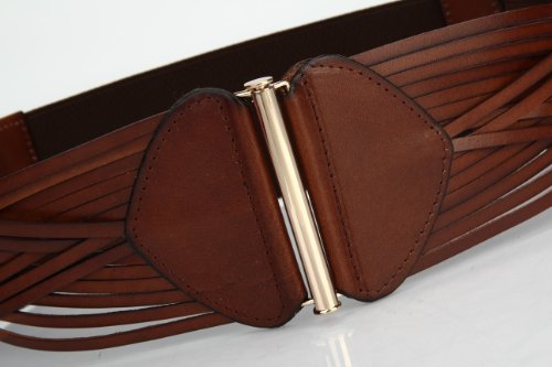 Women's Korean Style Simple Fashion Leather Wide Weave Belt (Brown) by RUI (Image #2)