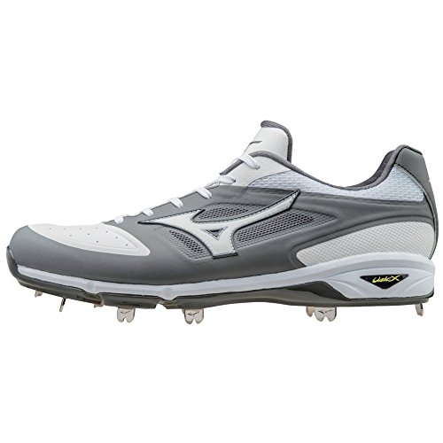 Mizuno Dominant IC Adult Men's Low Cut Metal Baseball Cleats - Grey & White (Men's Size 15)