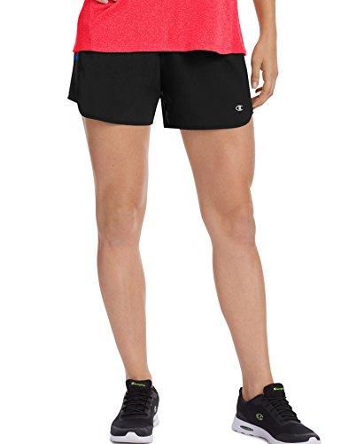 Champion Women's Woven Train Short, Black/Pocket Stripe, XL