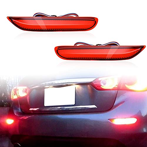 LED Rear Fog Lamps Bumper Reflector Strobe Brake Lighting Brake Tail Lights Turn Signal Lamps Kit For Infiniti Q50 QX56 QX60 QX80 Nissan Pathfinder Rogue (Red)