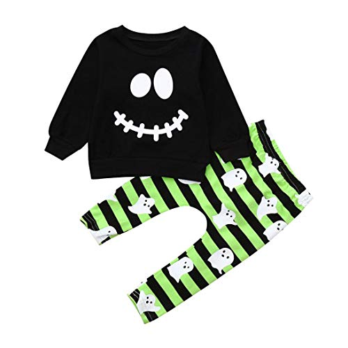 Ghost Pokemon Halloween (2pcs Newborn Baby Boys Girls Cartoon Ghost Tops Romper+Pants Halloween Outfit Set (Black,)
