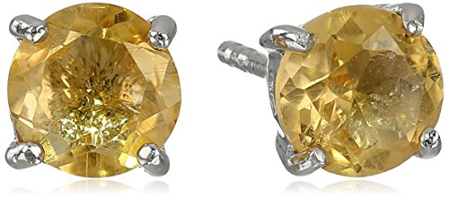 Sterling Silver Round Citrine Earrings