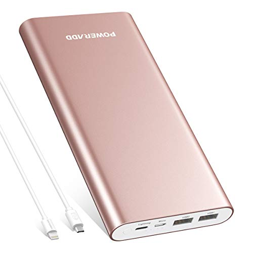 Poweradd Pilot 4GS Plus 20000mAh Power Bank with 8-Pin& Micro Input, 3.6A Fast Charger for iPhone, iPad, Samsung, LG, HTC and More - Rose Gold (MFi 8 Pin, USB Cable ()