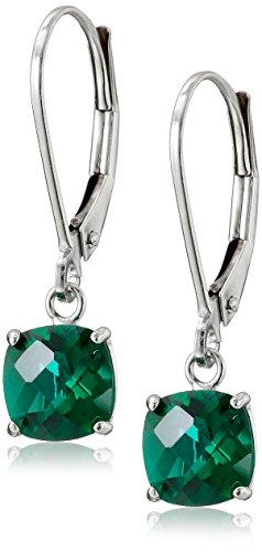 10k White Gold Cushion-Cut Checkerboard Created Emerald Leverback Earrings (6mm)