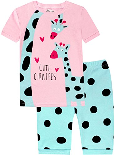 shelry Kids Pajamas Set Girls 2 Piece Pajamas Clothes Cotton Giraffes Spot Sleepwear 3Y (Giraffe Tender)