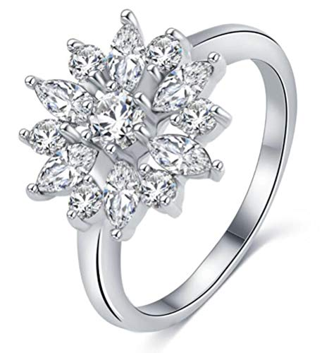 se&Round Cut Cubic Zirconia Cluster CZ Snowflake Flower Engagement Wedding Ring for Women Girls,Size 6 ()