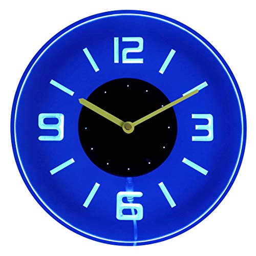 ADVPRO cnc2001-b Round Numerals Illuminated Edge Lit Bar Beer Neon Sign Wall Clock with LED Night