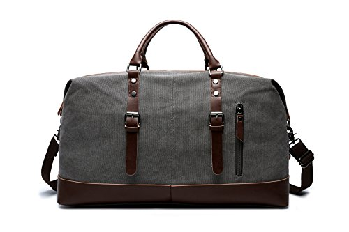 Carry On Bag Canvas Travel Duffel Tote Unisex Weekender Bag (Grey)