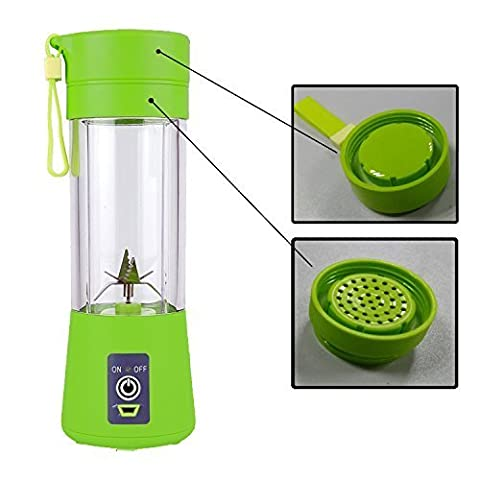 Personal Blender TopAufell, Portable Juicer Cup/Electric Fruit Mixer/USB Juice Blender, Rechargeable, Six Blades In 3D For Superb Mixing, 380mL -(Green)