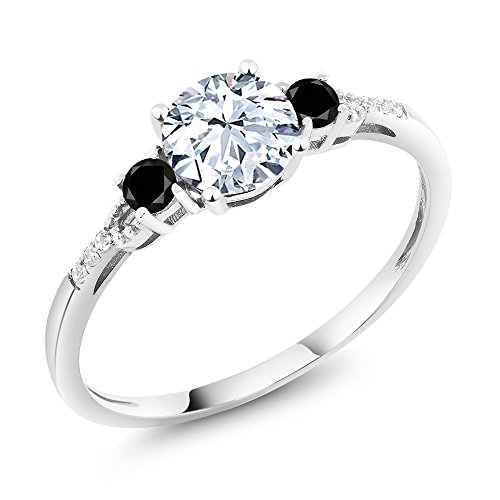 Gem Stone King 10K White Gold Diamond Accent 3-stone Engagement Ring set with White Created Sapphire and Black Diamond 1.38 cttw (Size 6) (Pink Black Ring Engagement)