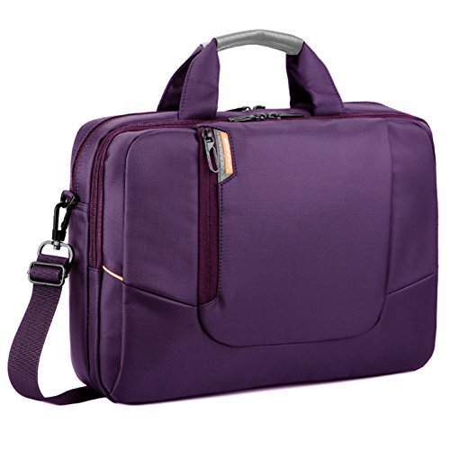 (BRINCH 14 inch New Soft Nylon Waterproof Laptop Computer Case Cover Sleeve Shoulder Strap Bag with Side Pockets Handles and Detachable for Laptop/Notebook/Netbook/Chromebook,Colour Purple)