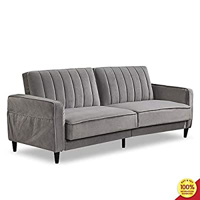 Sofa Bed Living Room Furniture Sets, Tufted Futon Wide Chaise Lounge Couch for 3 Seats, with Premium Velvet Upholstery and Wooden Legs, Grey - [Vintage design]: with a soft velvet upholstery and tapered wooden legs; vertical stitching with Tufted design on Back Cushions. Premium velvet upholstery with side pockets to place some magazines and remote controls. [Multi-functional use]: Ideal for small living spaces; split Back design that allows to change to multiple positions: sitting, lounging and sleeping. Sits up to 3 people comfortably. Available to best fit your Home decor. [Sturdy and durable]: padded Arm rests provide extra seating comfort and padding under the feet to protect your floors from scuffs and scratches. Solid wood frame and legs make the sofa durable. - sofas-couches, living-room-furniture, living-room - 41cZS7pQHHL. SS400  -