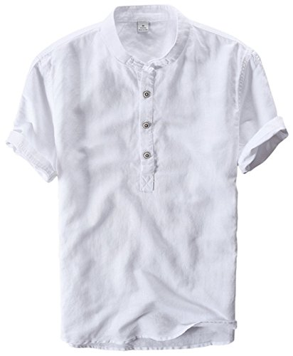utcoco Men's Retro Chinese Style Short Sleeve Linen Henley Shirts (XX-Large, White)