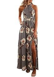 Zesica Women S Halter Neck Floral Print Backless Split Beach Party Maxi Dress Grey Medium