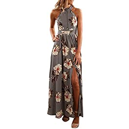 ZESICA Women's Halter Neck Floral Print Backless Split Beach Party Maxi Dress