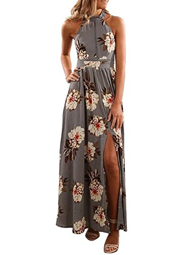 ZESICA Women's Halter Neck Floral Print Backless Split Beach Party Maxi Dress,Grey,X-Large
