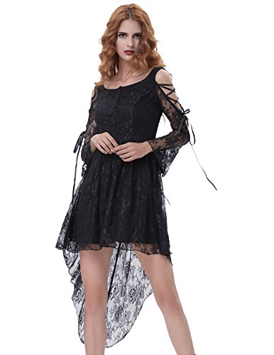 Floral Lace Formal High-Low Dresses For Women Victorian Dress BP350-1 L Black