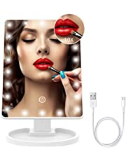T-SUN LED Makeup Vanity Mirror with Three Lighting Settings and Detachable Beauty Mirror with 10X Magnification-with 22 LED Lights (White)